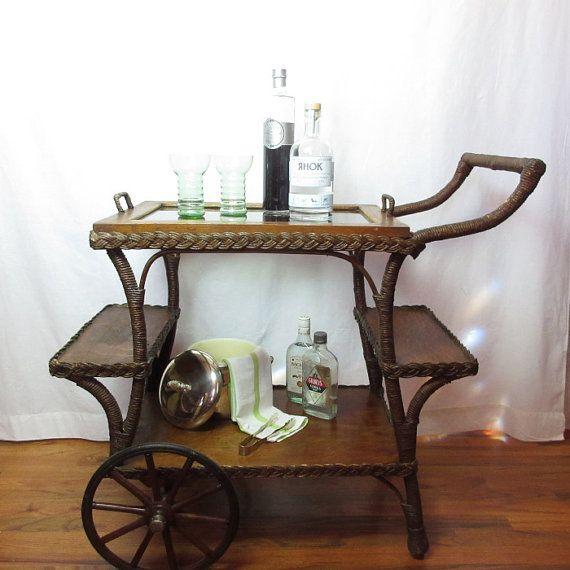 Great Victorian Tea Cart Portable Bar Entry Or Side Table Wicker Oak Glass  Serving Tray Original Wheels