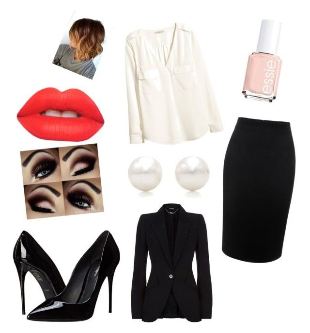 """Business day"" by janin-gfesser on Polyvore featuring Alexander McQueen, H&M, Dolce&Gabbana, Tiffany & Co., Essie and Lime Crime"