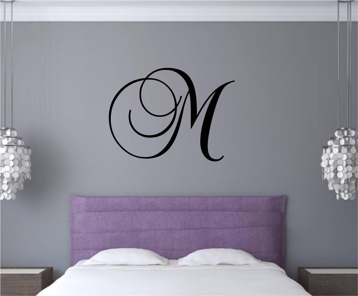 Custom monogram letter vinyl decal wall art stickers words dorm room
