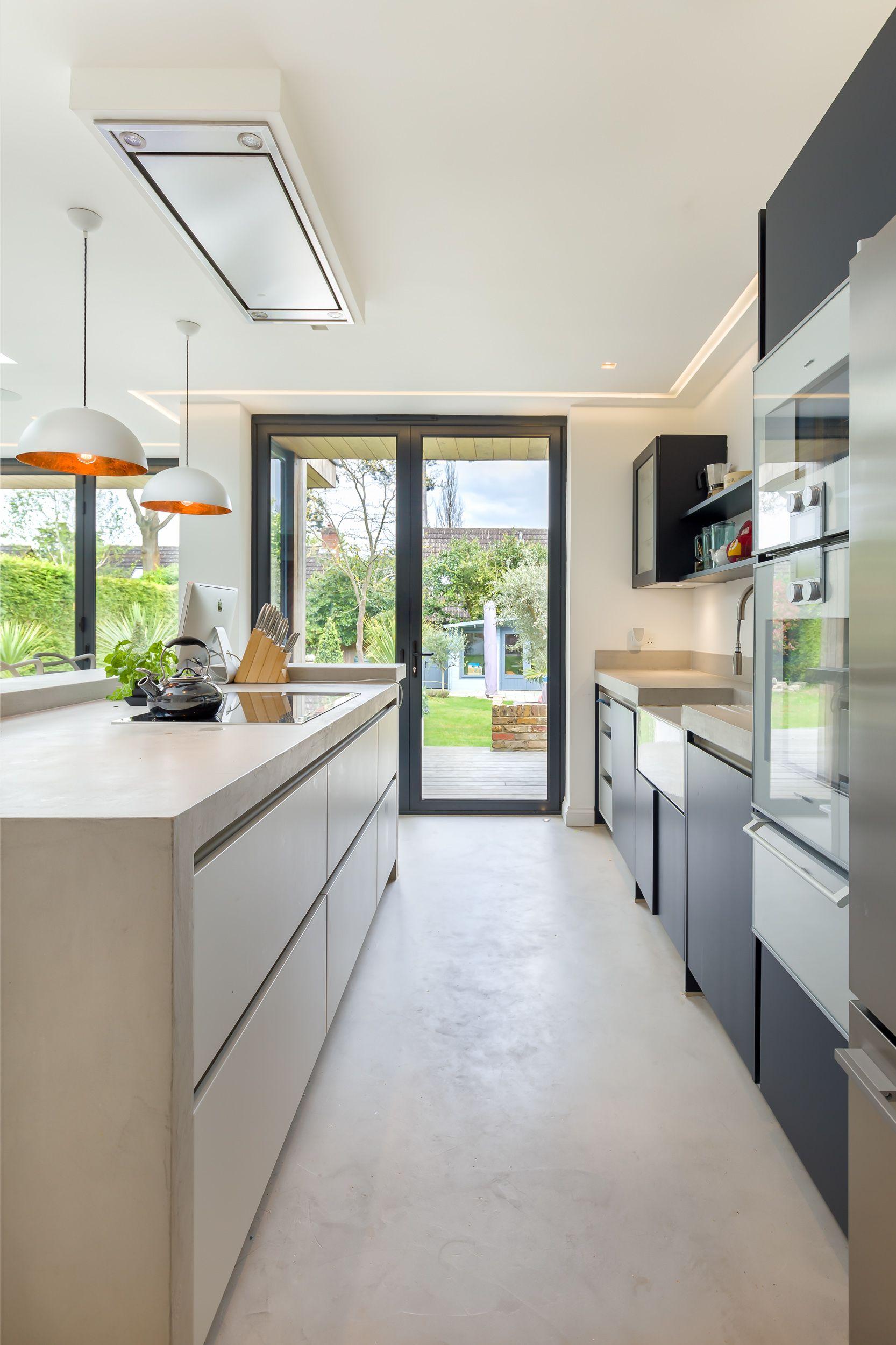 Contemporary kitchen concrete kitchen island