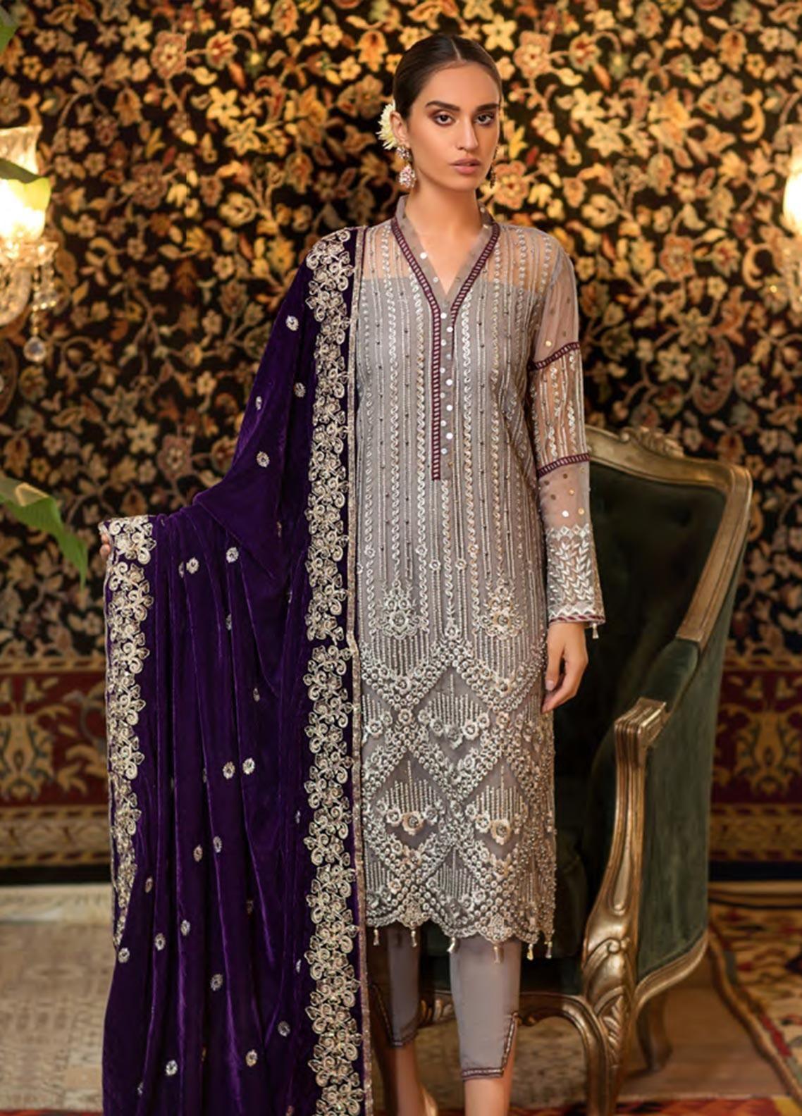 Pakistani Embroidered Velvet Shawl Winter Designer Collection Shalwar Kameez