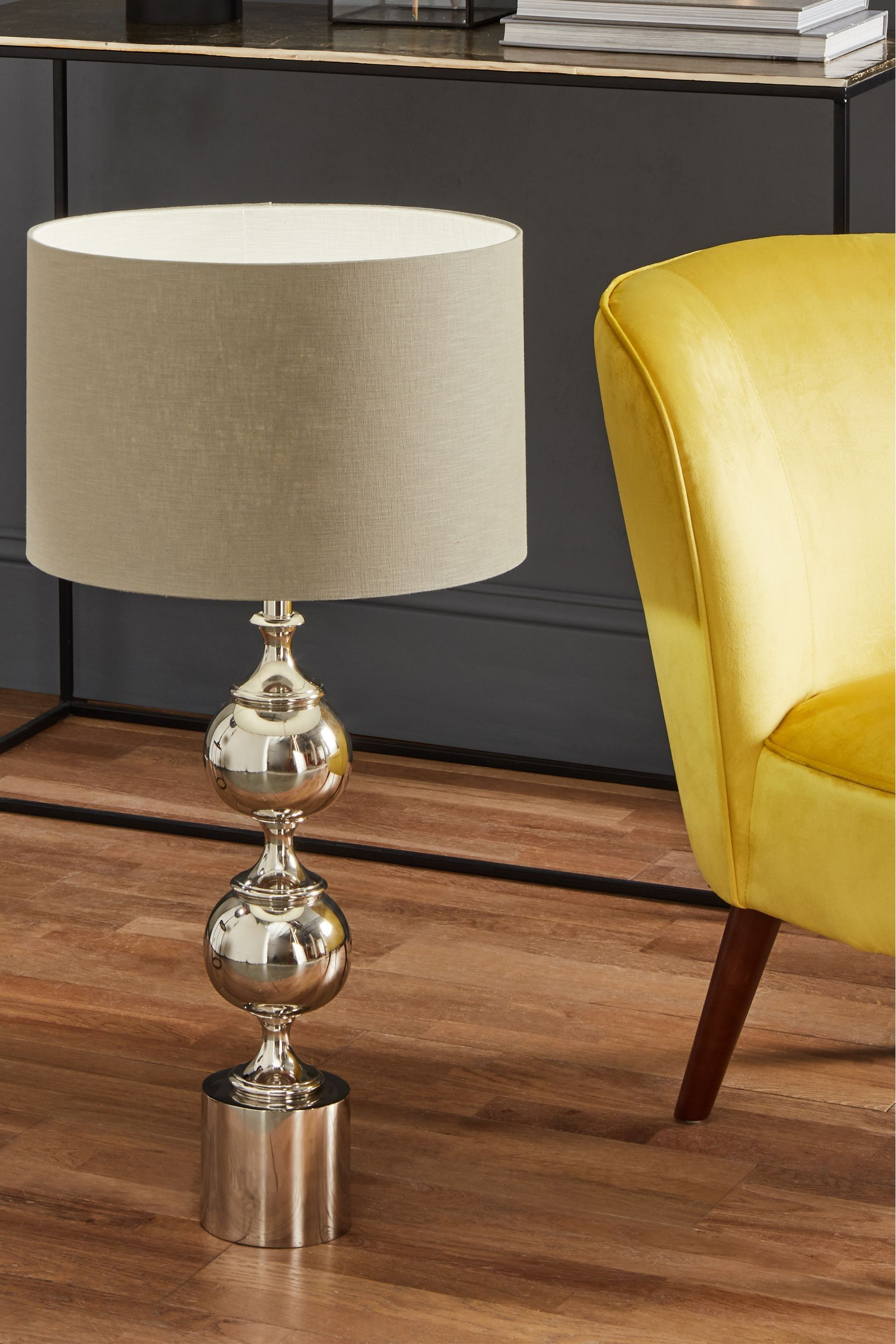 Asilah Silver Aluminium Tall Footed Table Lamp By Pacific Lighting