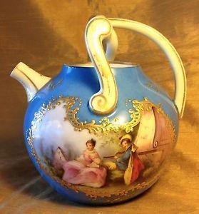 limoges teapot   Antique-J-P-L-JEAN-POUYAT-LIMOGES-Teapot-w-Hand-Painted-17th-c-Lovers ...