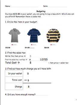 Money skills worksheets information