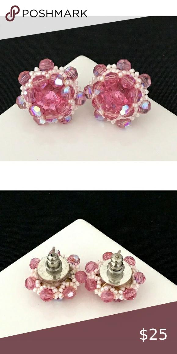 Vintage Pierced Earrings Pink Crystals 5D