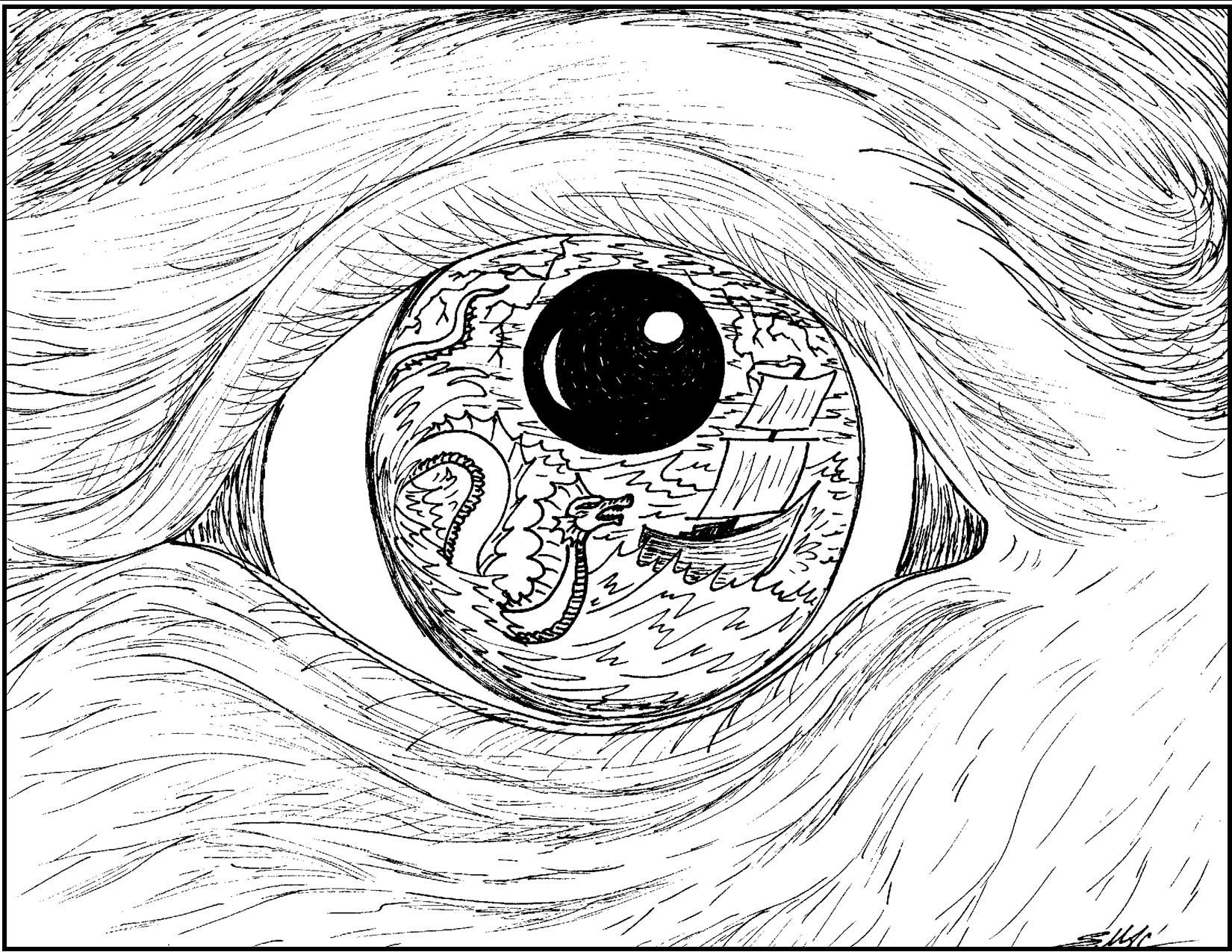Line Art Eyes : S mac surrealistic coloring page old mariner eye