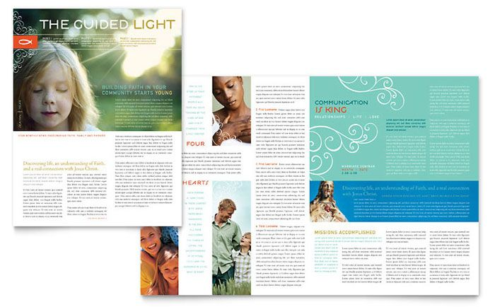 christian church religious newsletter design template by