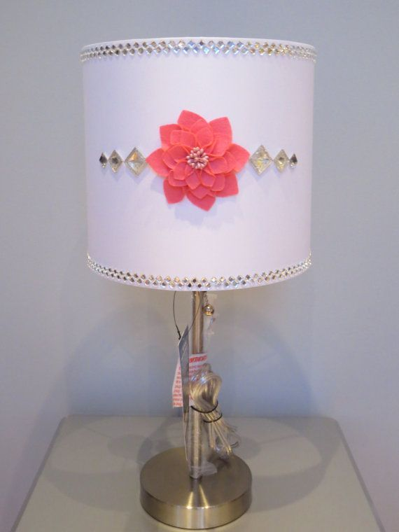 Girly glam lamp with white lamp shade fiery coral arosemaryhome girly glam lamp with white lamp shade fiery coral arosemaryhome girly lamp shades audiocablefo