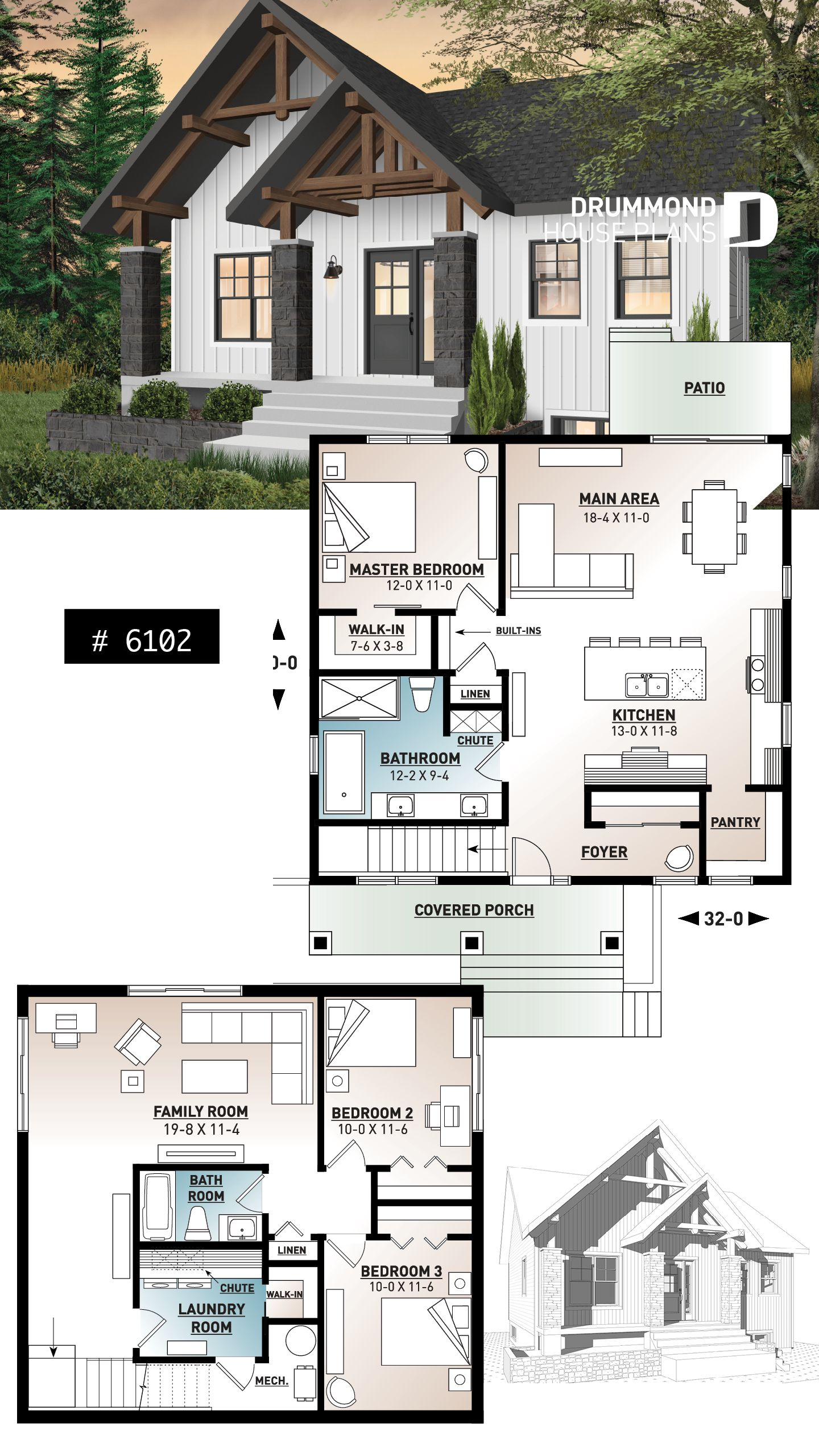 Country Rustic House Plan With 3 Bedrooms Covered Gallery Beams Mud Room 9 Ceiling Master