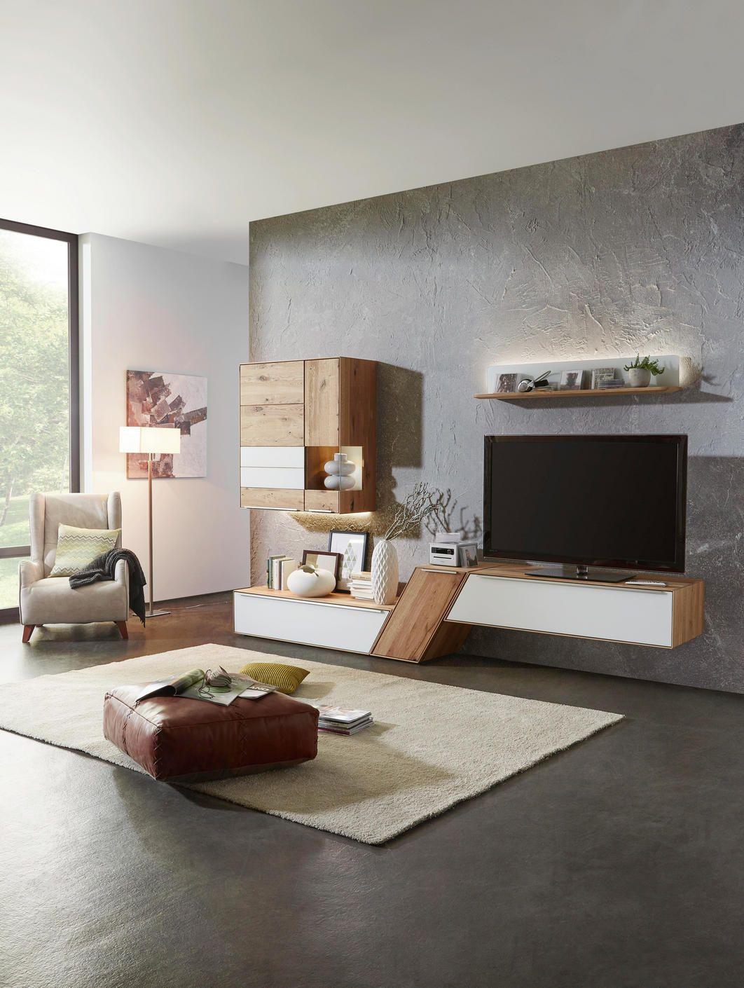 Wohnwand Eichefarben Weiss Massivholz Wohnzimmermobel Wohnen Wohnung Wohnzimmer