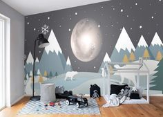 Photo of Kids Mountainscape with Cute Bears and Nightscape Wallpaper Mural