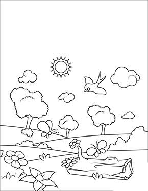ausmalbild frühling - vogel am waldrand zum ausdrucken und