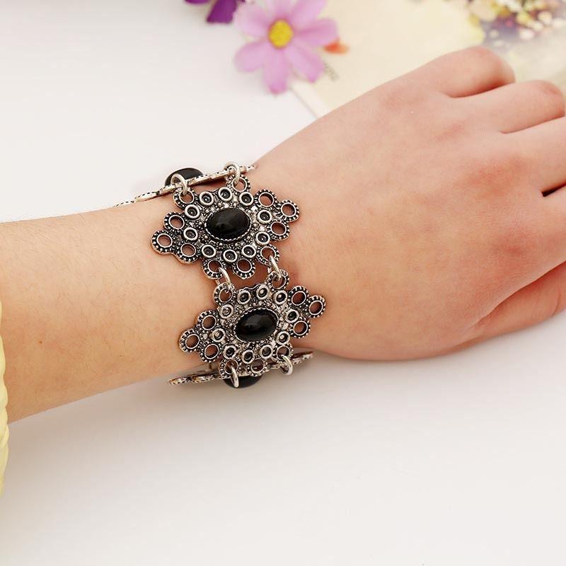 Bohemian Ethnic Gypsy Ttibal Coin Bracelet Boho Monochrome Festival Bangle L-24 #Welldone #Statement