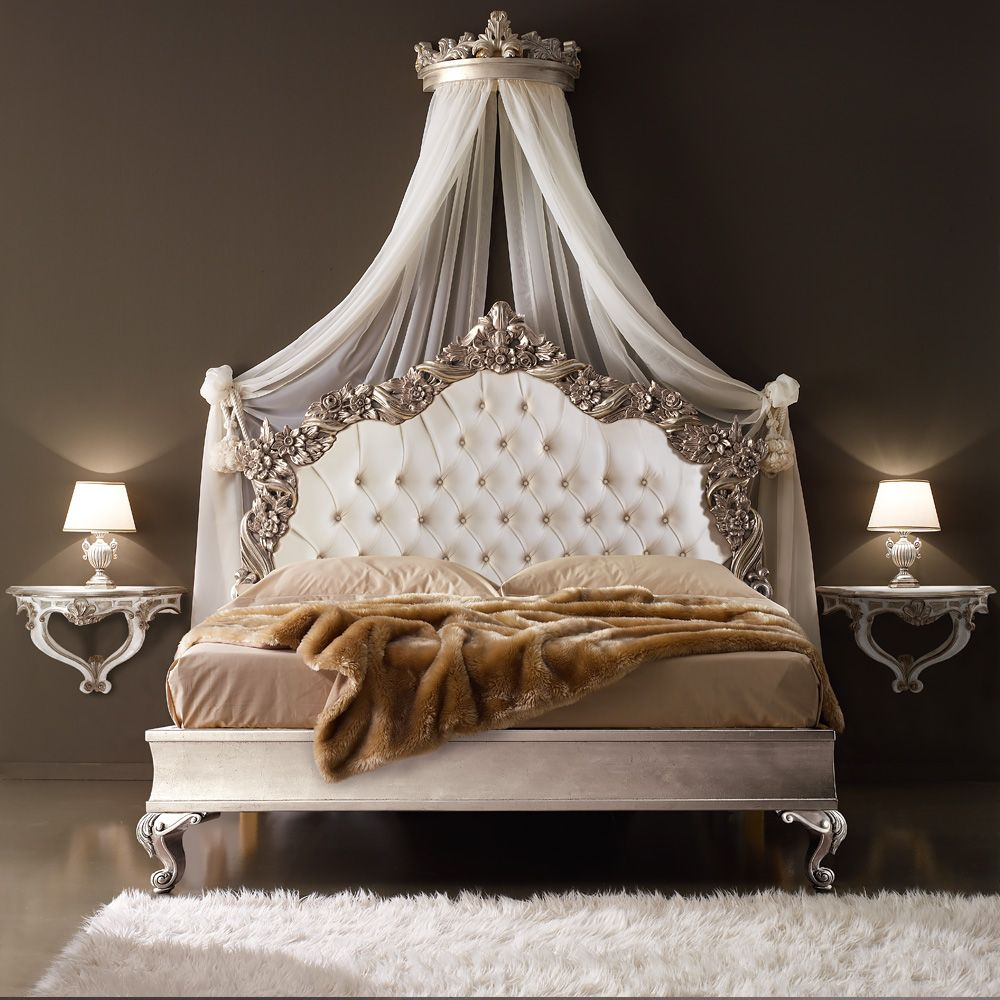 Ornate Italian Designer Silver Leaf Bed Luxury bedroom