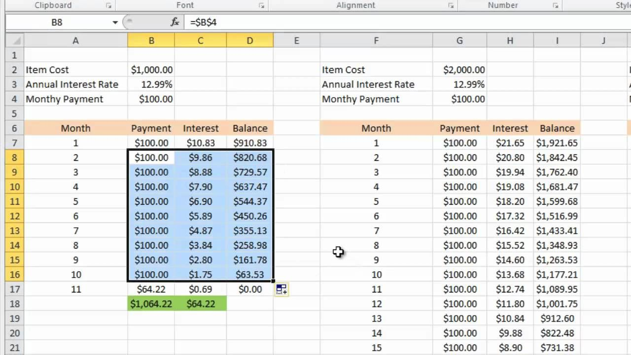 Calculating Credit Card Payments In Excel 2010 Intended For Credit