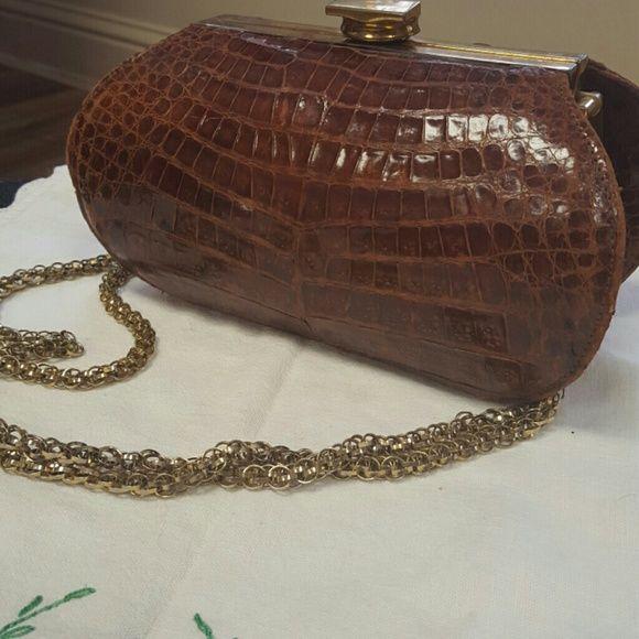 Vintage alligator handbag Vintage 1950's? alligator purse with gorgeous gold chain strap.  EUC vintage. Vintage Bags