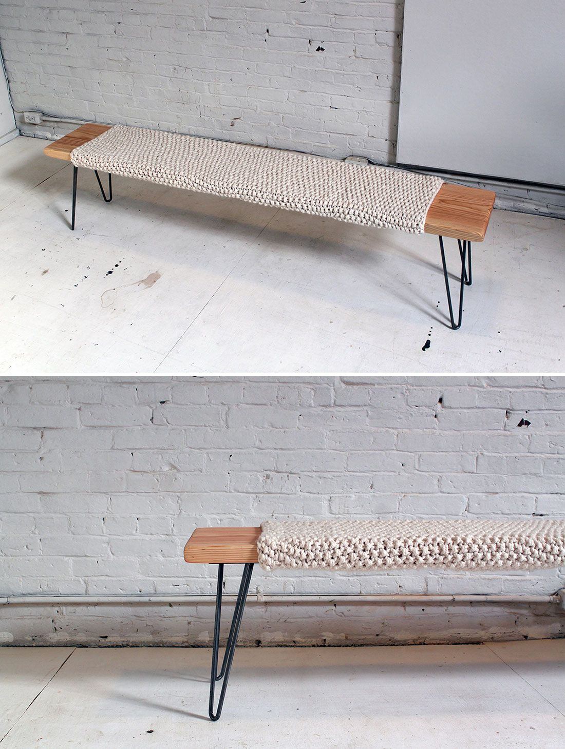 Make This Knitted Wool and Wood Bench for Just $85 | Rusticas ...