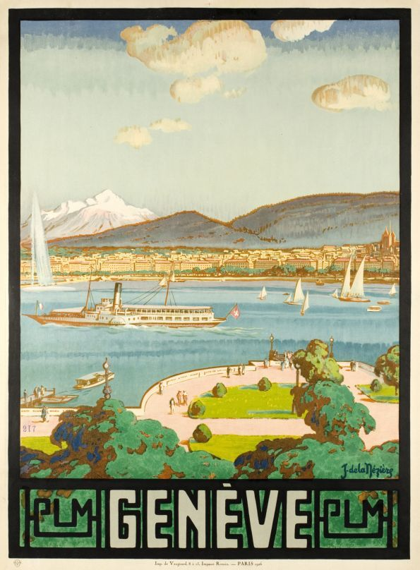"""Genève, PLM by De La Neziere Jean / 1926 Beautiful view of the """"rade de Genève"""" and the lake of Geneva, with the water-jet and the Mont-Blanc in the background. This very precise view was drawn from a window of the Hôtel d'Angleterre in 1926. One of the famoust Geneva poster."""