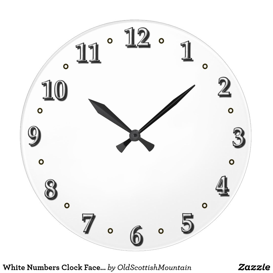 White Numbers Clock Face Template Zazzle Com Clock Face Clock