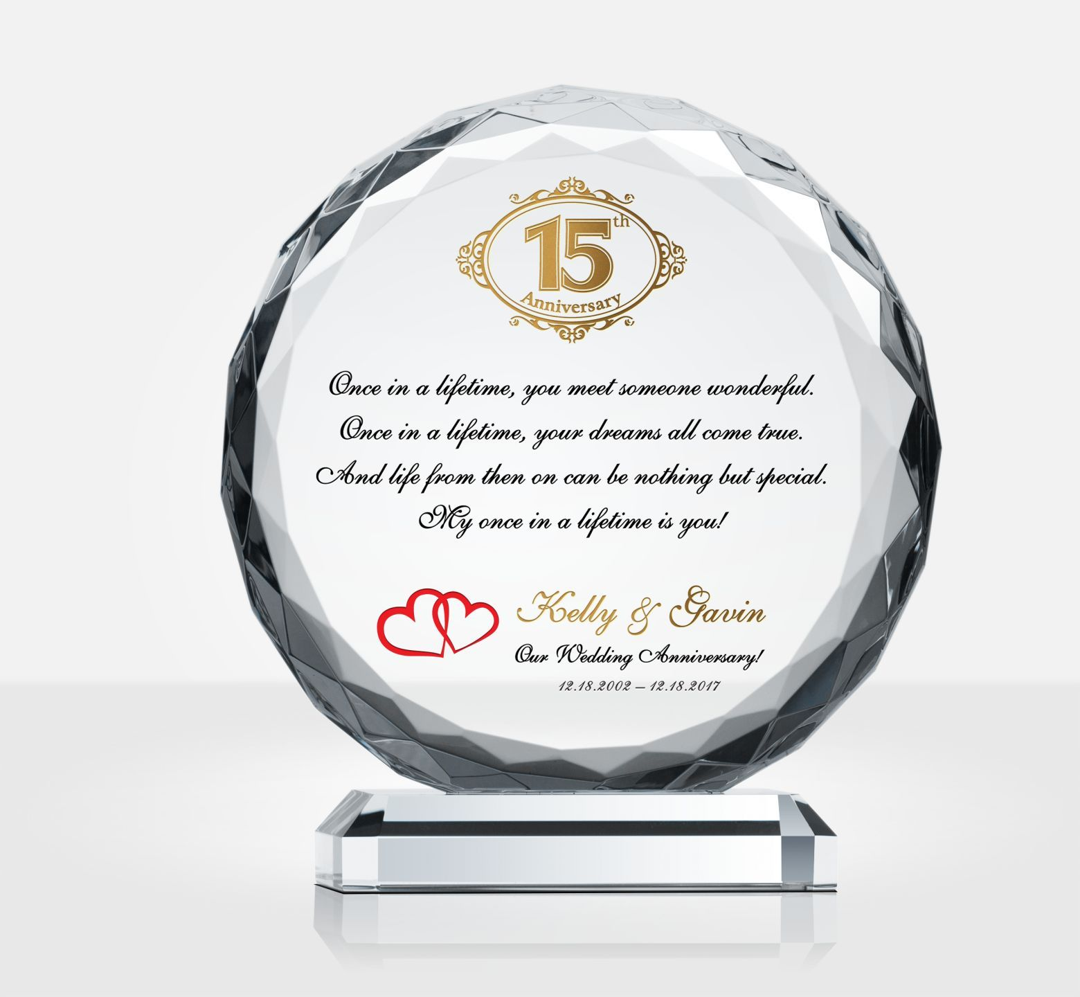 15th (Crystal) Wedding Anniversary Gifts Anniversary