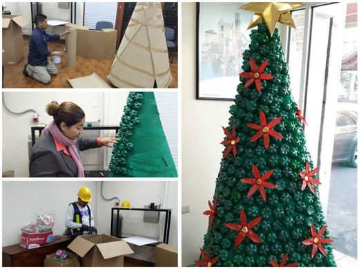 Decoraciones navide as con botellas de pl stico - Decoracion navidena exterior ...