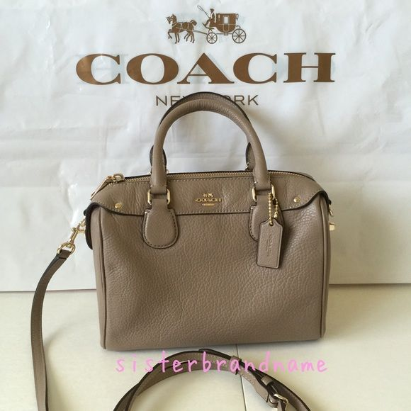 a4c635a12c000 Authentic New Coach mini bennett satchel bag ✨ Coach mini Bennett satchel  in stone ✨ Pebble leather ✨ Zip-top closure