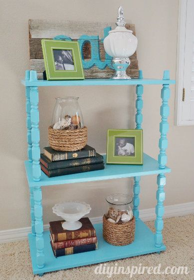 DIY inspired - upcycled thrift store furniture - love this aqua blue  spindle shelf. Painting Old ...