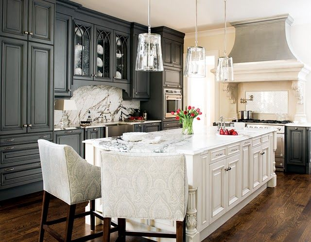 Gray & white kitchen, nice contrast in cabinetry