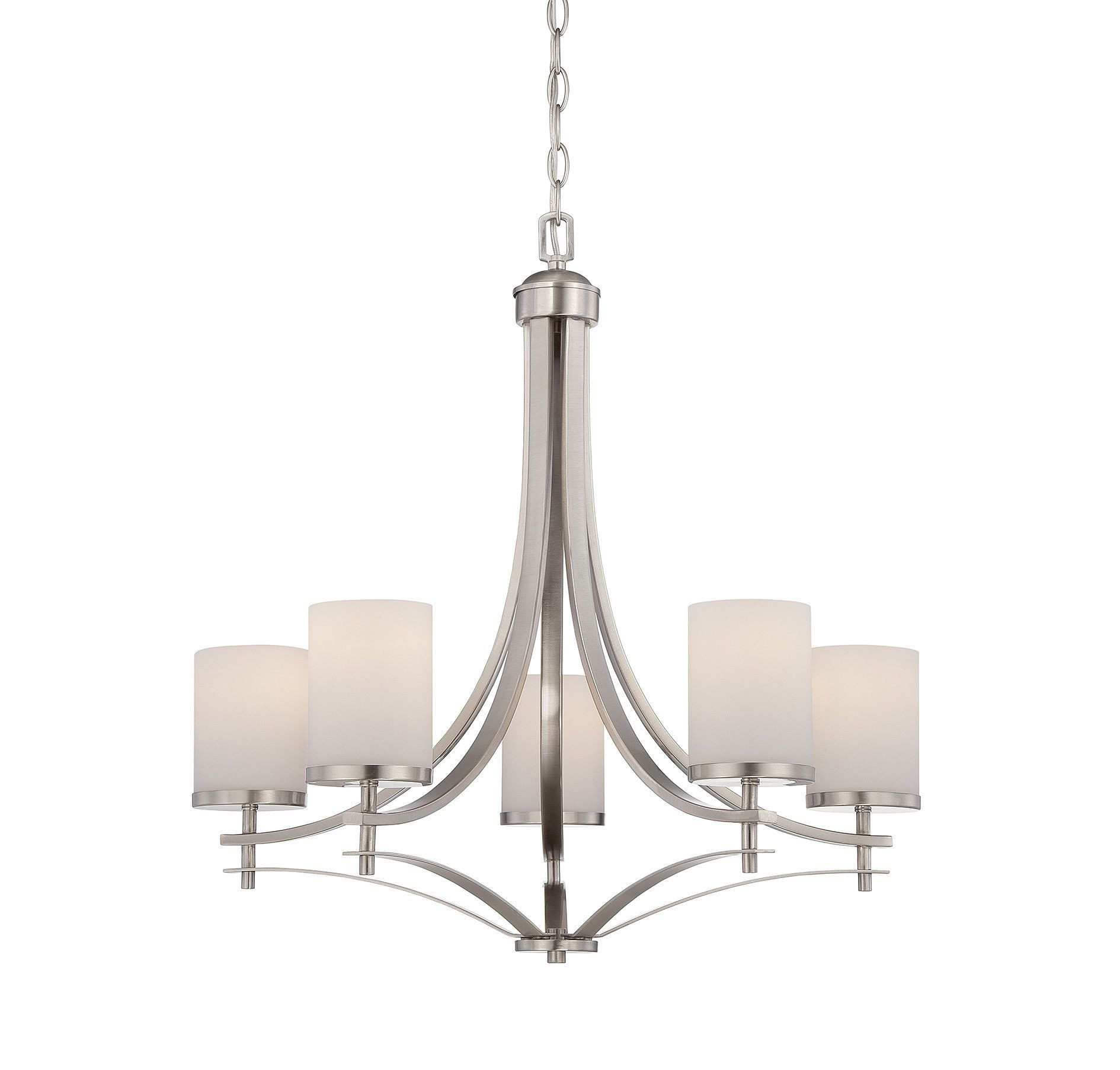 Outstanding Transitional Dining Room Suitable For Any Home: Agnes 5-Light Shaded Chandelier