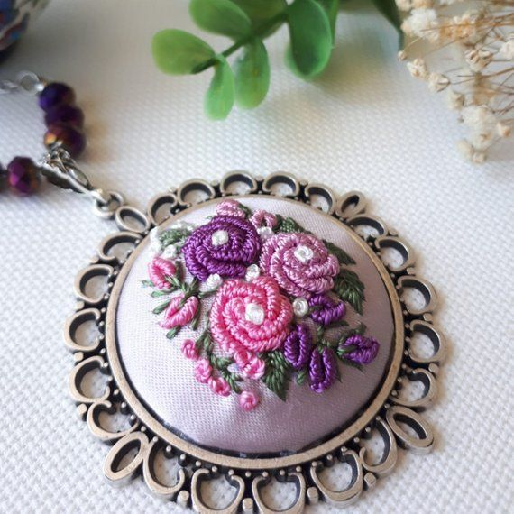 Embroidery Necklace Needlework Jewelry  Embroidered Flower Floral Pattern Pendant Unique Authentic H #floralembroidery