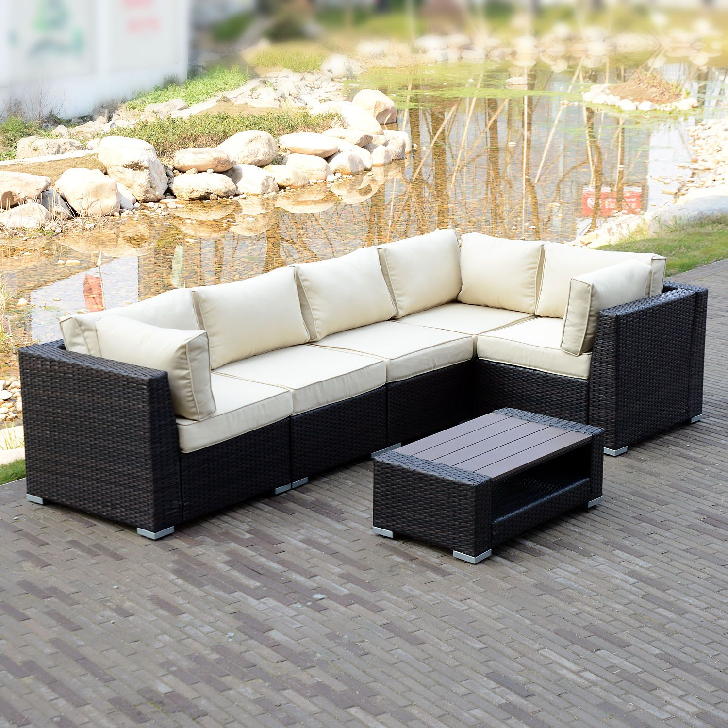 6 PCS Rattan Furniture Set Outdoor Patio Garden Sectional PE Wicker Couch  Sofa