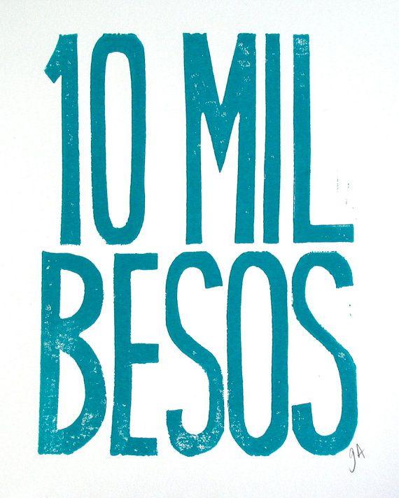 BLOCK PRINT - 10 mil besos TURQUOISE Spanish letterpress typography poster  8x10