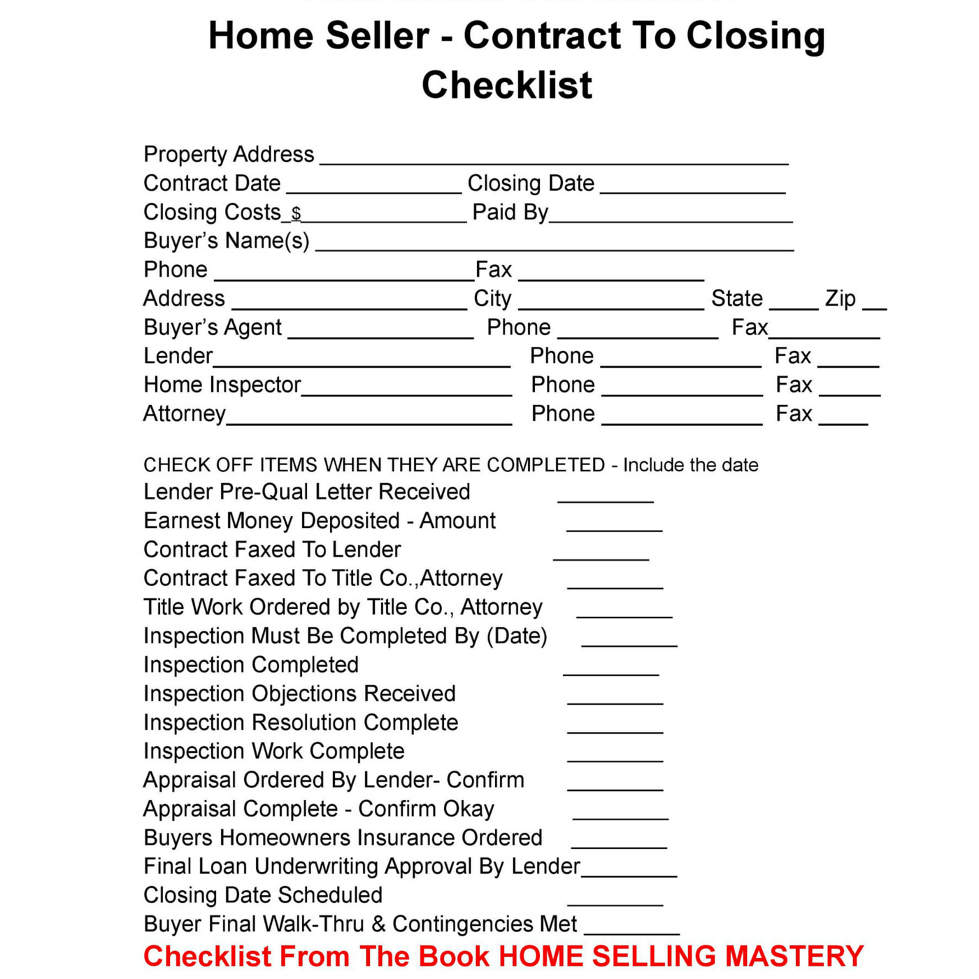 Home sellers here is your contract to closing checklist for Real estate closing checklist template