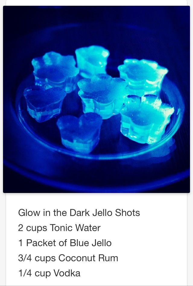 Glow in the Dark Jell-O shots # tipsy Bartender | Party ...