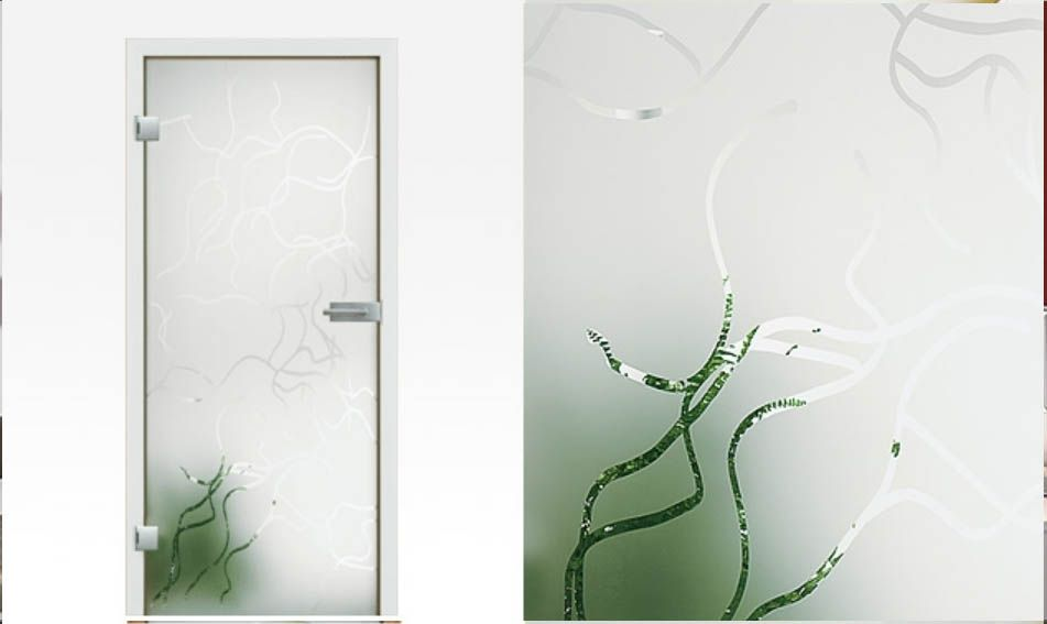 Glass Door Frosted Model Fresco: Frosted Glass Door With A Clear Design  Patterns. Toughened