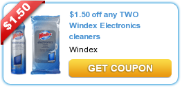 $1.50 off any TWO Windex Electronics cleaners