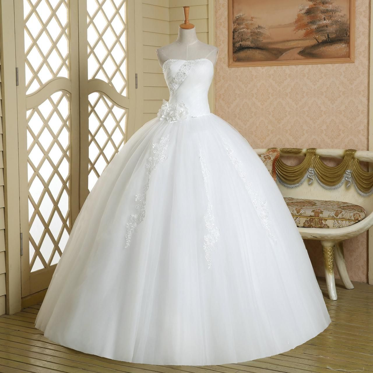 Custom made cheap pageant princess strapless lace up long
