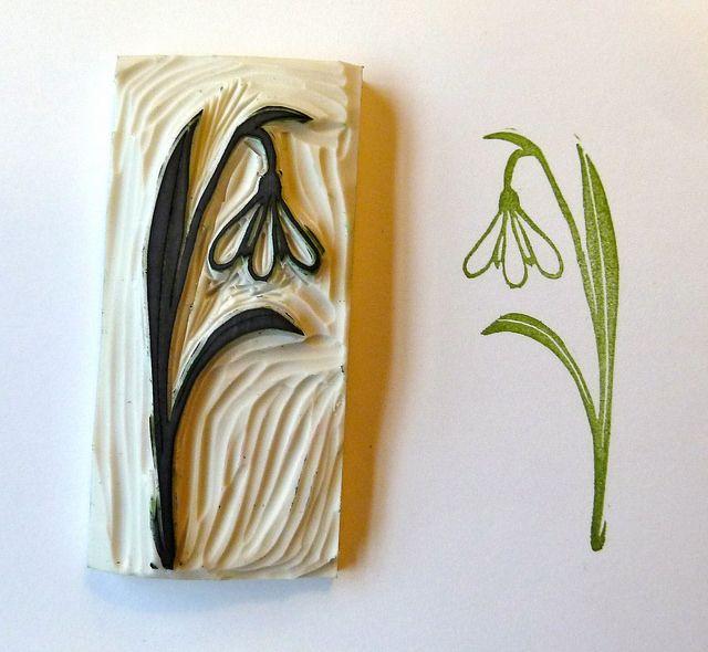 Sneeuwklokje crafting homemade stamps linocut prints stamp carving