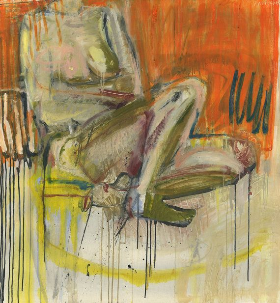 Large Contemporary Original Painting - Abstract Nude Female - Modern wall art - oil on canvas - orange yellow, 39.4x43.3 inches (100x110 cm)