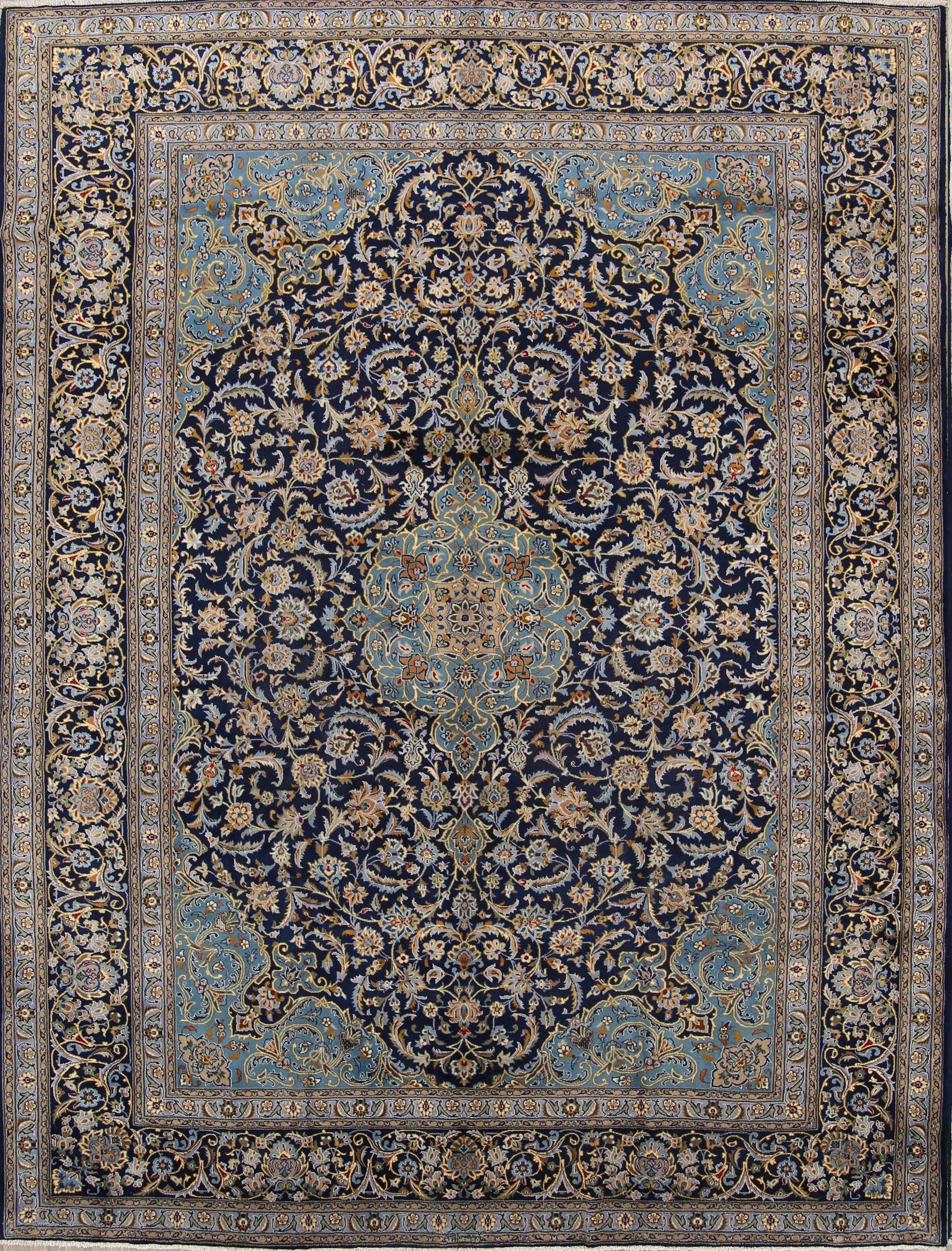 Excellent Navy Blue Fl 10x13 Kashan Persian Area Rug Online Unlimited Source Of Oriental And Antique Rugs