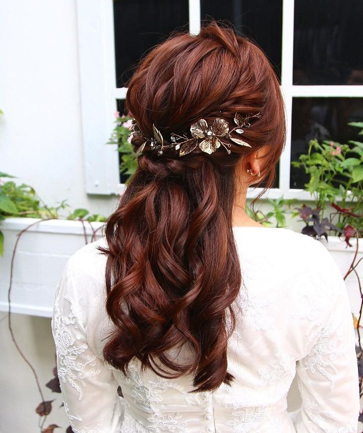 Pretty Half Up Half Down Wedding Hairstyles Partial Updo Bridal
