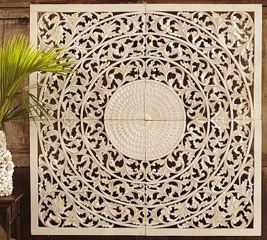 Wood Medallion Wall Art carved medallion panels, set of 4 #potterybarn used as a headboard