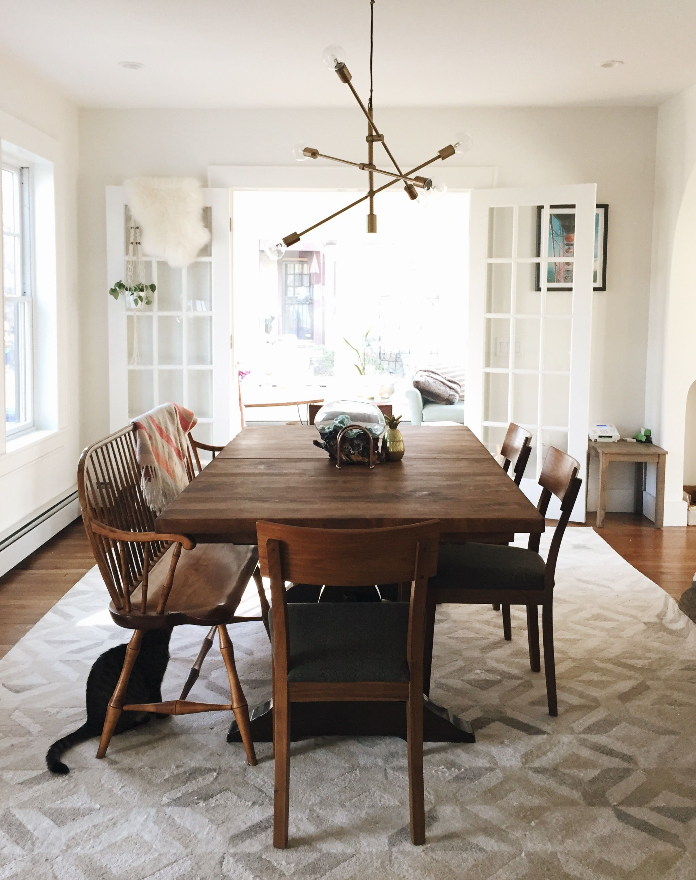 Our Dining Room! West Elm Marquis Rug West Elm Mobile Pendant Craigslist  Table, Room And Board Chairs, (from Craigslist) Craigslist Bench, Ikea  Lambskin, ...