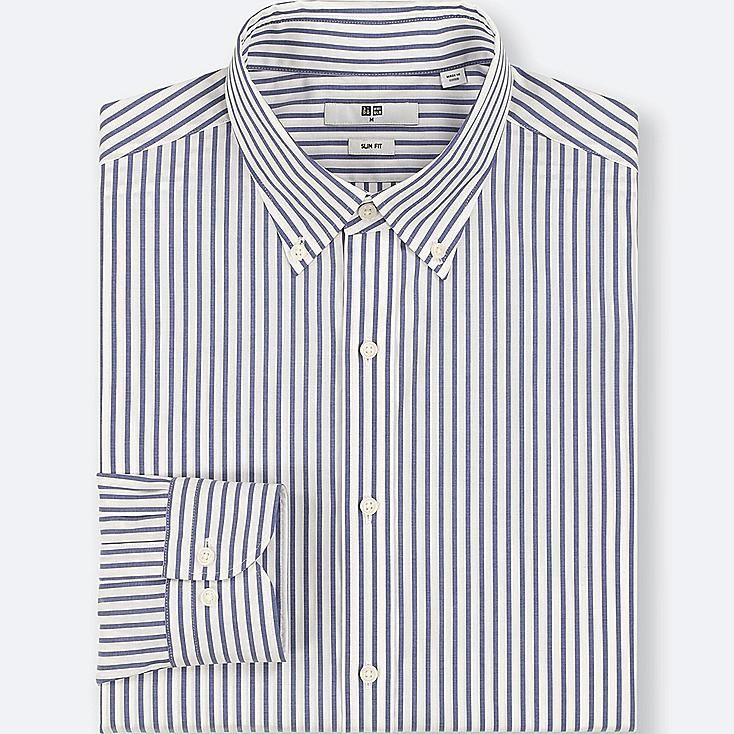 242ed0624 MEN EASY CARE STRIPED STRETCH SLIM-FIT LONG-SLEEVE SHIRT, BLUE, large
