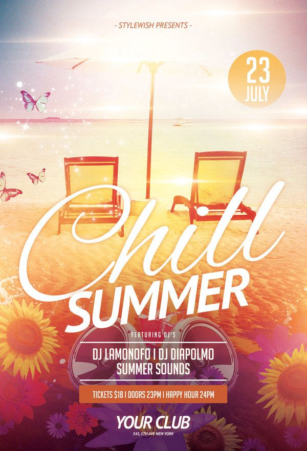 Chill Summer Flyer by styleWish (Download PSD file) Pôster - summer flyer template