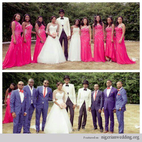 Bridal party- Bridesmaids & Groomsmen Pink & blue wedding colors ...
