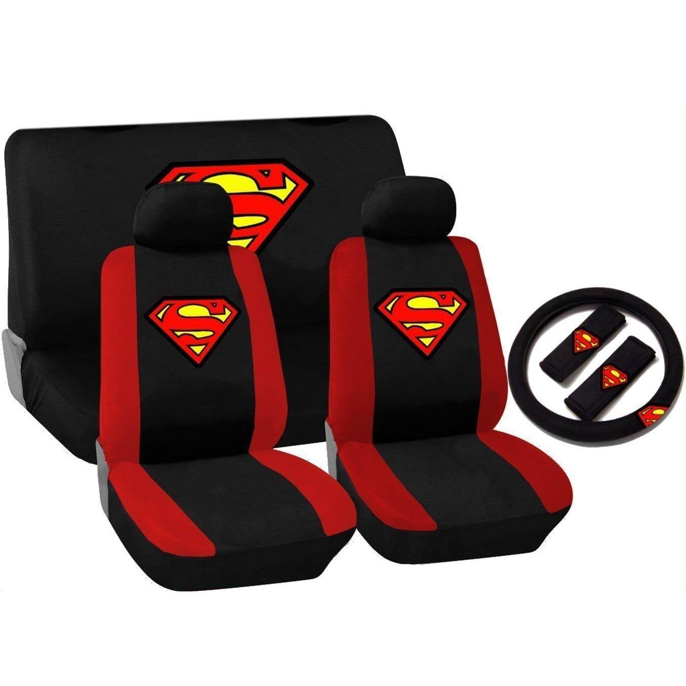11pcs Black Amp Red Superman Logo Seat Cover Set Scion Cars