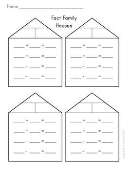 Fact Family Houses Blank Fact Families Fact Families Addition Math Facts