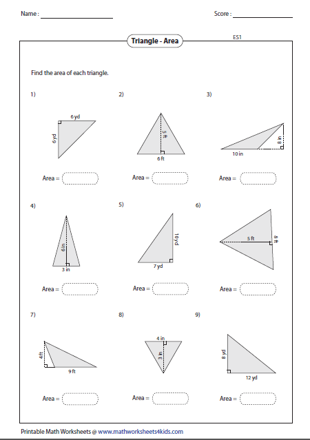 Area Of Triangles Math Triangle Worksheet Geometry