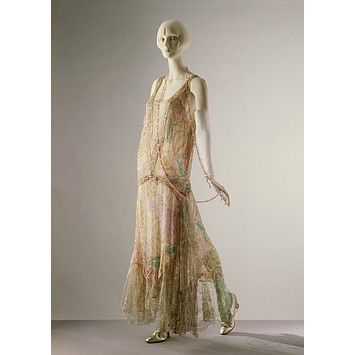 Callot Soeurs, ca. 1922  Printed silk voile embroidered with sequins and glass bugle beads, and trimmed with lace